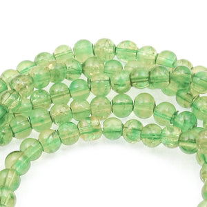 Green & Yellow 4mm Round Glass Crackle Beads, Two Tone Beads 200/Pkg