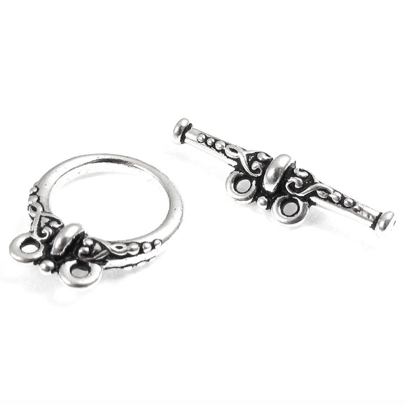 Silver Heirloom Two Strand Toggle Clasp, TierraCast Pewter (1 Set)