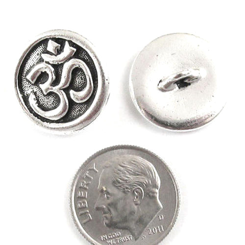 TierraCast Pewter Buttons-Fine Silver Om Ohm Symbol (2)