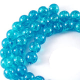 Aqua Blue 8mm Round Glass Crackle Glass Beads (50 Pieces)