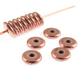 Copper 6mm Disk Spacer Beads, TierraCast Lead-Free Pewter (25 Pieces)