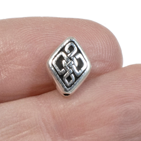Silver Long Celtic Knot Diamond Beads, TierraCast Endless Knot 4/Pkg