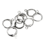 Leverback Pierced Huggie Earring With Loop, Silver Plated Brass (4 Pair)