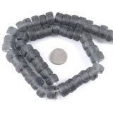 "15"" Recycled Glass Rondelle Wheel Beads-LIGHT GRAY (50)"