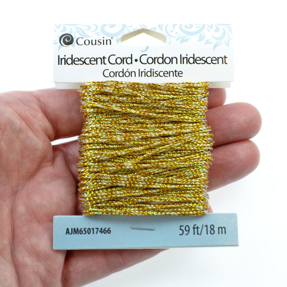 1mm Iridescent Gold Cord, Non-Stretch (59 Feet)