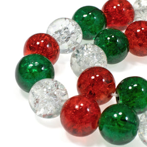 Red, Green & Clear Glass Crackle Beads, Christmas Bead Mix 10mm 30/Pkg