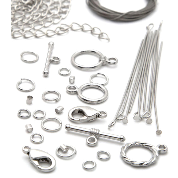 119 Piece Silver Metal Necklace Starter Pack