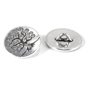 Silver Tree of Life Buttons, TierraCast Leather Clasp + Shank Back 2/Pkg