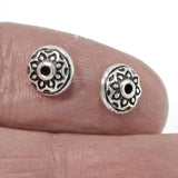 7mm Silver Lotus Spacers, Tierracast Flower Beads 10/Pkg