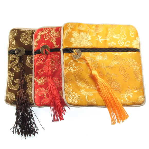 Satin Embroidered Zipper Bags + Tassel