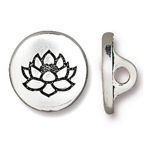 Silver Small Lotus Flower Buttons