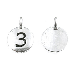 Silver Number Three Charms