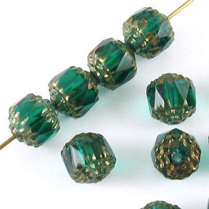 Teal Green Faceted 8mm Crown Cathedral Beads, Czech Glass (12 Pieces)