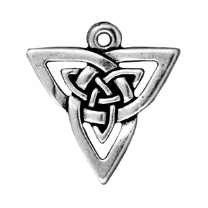 Silver Celtic Knot Triangle Pendants, TierraCast Pewter Charms 2/Pkg