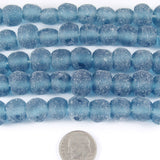 "15"" Recycled Glass Rustic Round Beads-BLUE MATTE 10mm (40)"