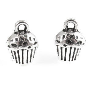 Silver Cupcake Charms, Metal Food Dessert Charms 10x13mm (12 Pieces)