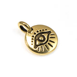 Gold Evil Eye Charms, TierraCast Mini Symbol Pendant 2/Pkg