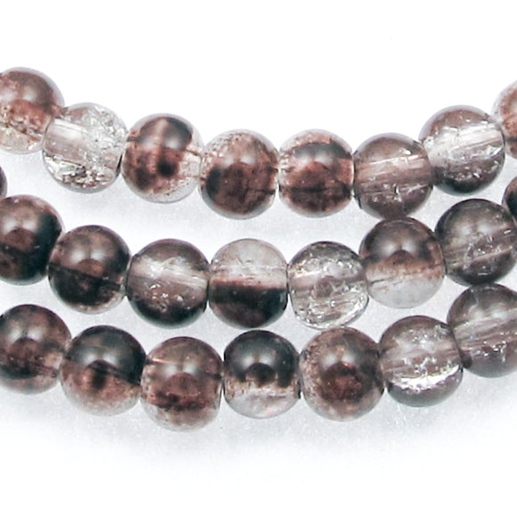 Round Glass Crackle Beads-Two Tone BROWN & CLEAR 5mm (100 Pcs)