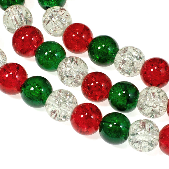 Red, Green & Clear Glass Crackle Beads, Christmas Bead Mix 10mm 90/Pkg
