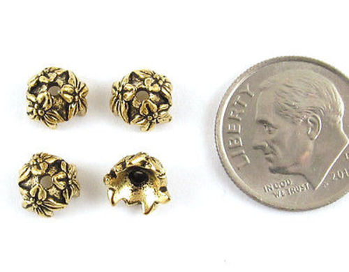 Gold Jasmine Flower Bead Caps