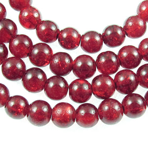 Ruby Red Round Glass Crackle Beads 6mm (100 Pieces)