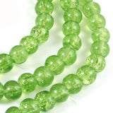 Grass Green 6mm Round Glass Crackle Beads (100 Pieces)