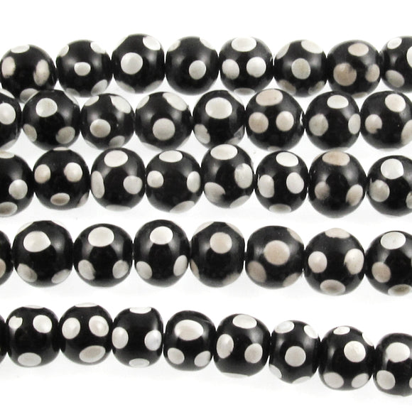 black polka dot lampwork beads