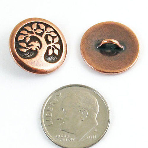Copper Bird in a Tree Buttons, Shank Back, Leather Clasp (2 Pieces)