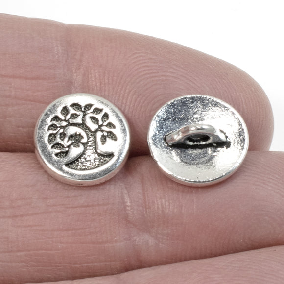 Silver Small Bird in a Tree Button, TierraCast Pewter, Shank Back 12mm (4 Pcs)