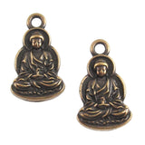 Brass Oxide Sitting Buddha Charms, TierraCast Yoga Meditation Charm (2 Pieces)