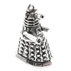 Silver Doctor Who Dalek Metal Pendant, Dr. Who Charm 25x35mm (1 Piece)