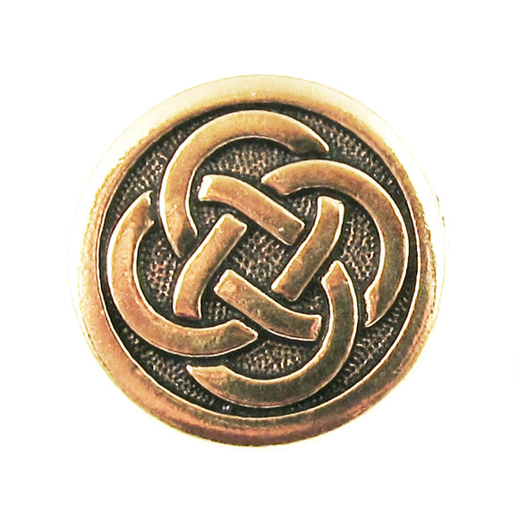 Gold Celtic Knot Buttons, TierraCast Leather Clasp, Shank Back (2 Pieces)