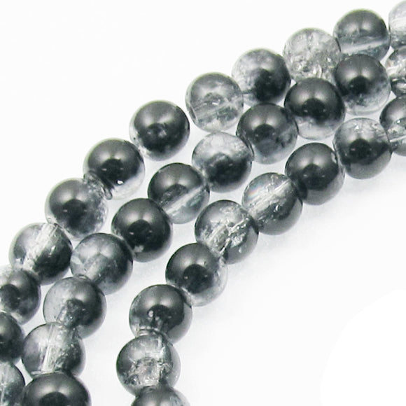 Round Glass Crackle Beads-Two Tone BLACK & CLEAR 5mm (100 Pcs)