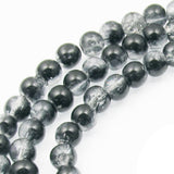 Black & Clear 5mm Round Glass Crackle Beads, Two Tone Beads 100/Pkg