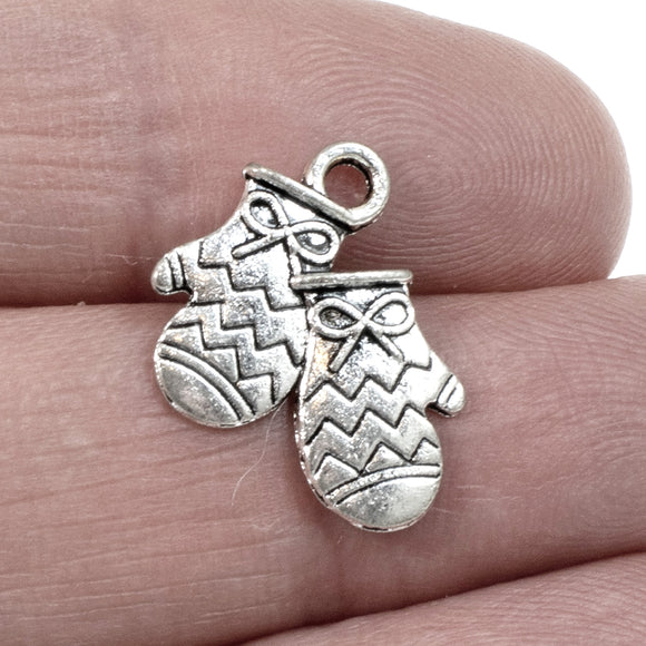 Silver Mitten Charms, Metal Christmas Winter Holiday Charm 20/Pkg