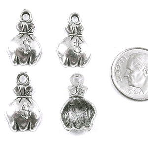 Silver Money Bag Metal Charms 11x20mm (25 Pieces)