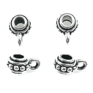 Silver Beaded Bails, TierraCast Pewter Pendant Bail (4 Pieces)