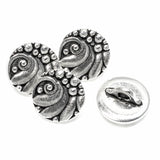 Silver Czech Floral Round Button, Shank Back, Leather Clasp 4/Pkg