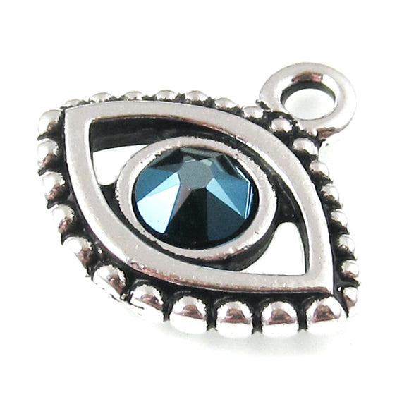 Silver Evil Eye + Swarovski Sapphire Crystal Charms, TierraCast Pewter (2 Pieces)