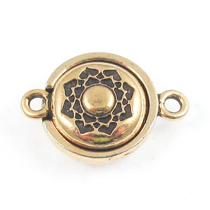 Gold Lotus Magnetic Clasp, TierraCast Lead Free Pewter Boho Flower (1 Set)