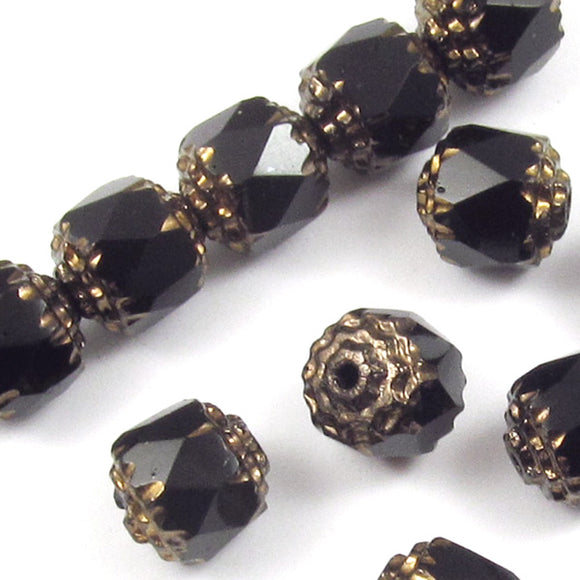 Jet Black Faceted 8mm Crown Cathedral Beads, Czech Glass (12 Pieces)