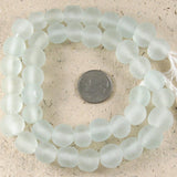 "15"" Recycled Glass Rustic Round Beads-SEAFOAM GREEN 10mm (40)"