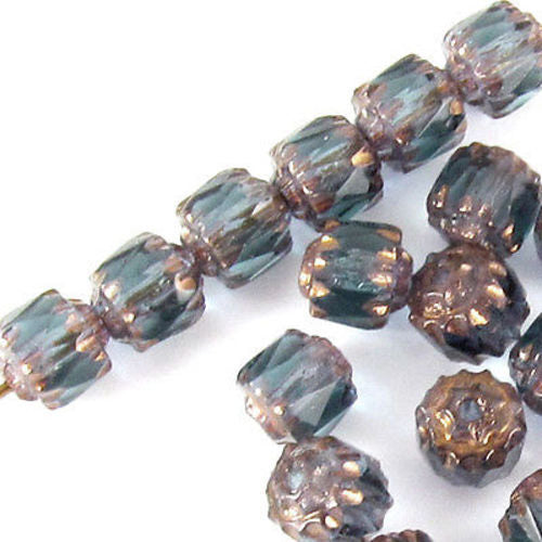 Montana Blue Faceted 6mm Crown Cathedral Beads, Czech Glass 25/Pkg