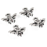 Silver Small Honey Bee Charm, TierraCast Lead Free Pewter 4/Pkg