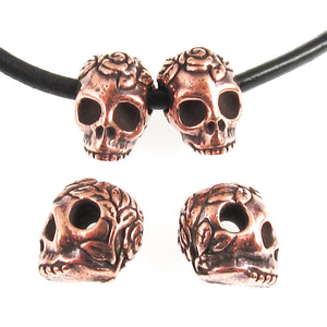 Copper Rose Skull Beads, Side Drilled, Large Hole, TierraCast 4/Pkg