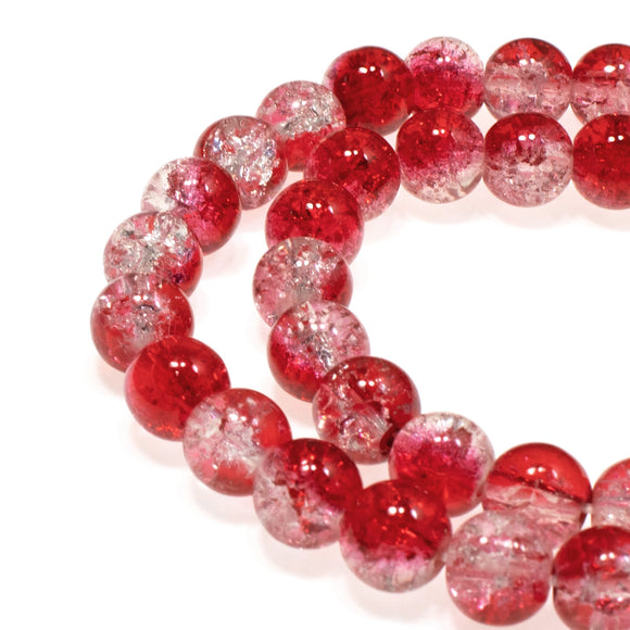 Red & Clear 8mm Round Glass Crackle Beads, Two Tone 50/Pkg