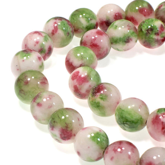 10mm Pink & Green Round Jade Beads, Dyed Gemstone Beads 40 Pcs