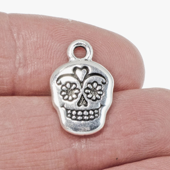 Silver Sugar Skull Charms, TierraCast Day of the Dead Charm 2/Pkg