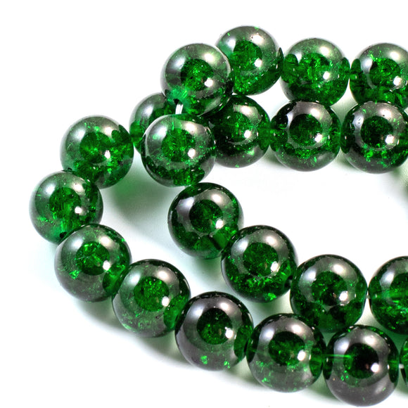 Dark Emerald Green 10mm Round Glass Crackle Beads, 30/Pkg