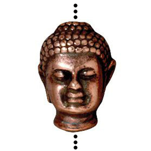 Copper Buddha Head Beads, TierraCast Large 2mm Hole Bead 2/Pkg